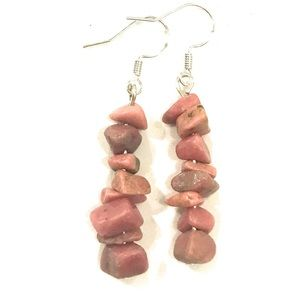 Rhodonite Semi Precious Stone Love Earrings
